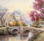 """Thomas Kinkade / Known as """"The Painter of Light,"""" artist Thomas Kinkade was the most collected living artists in the United States for several decades until his death in 2012. Kinkade's artwork is characterized by warm, happy scenes of small towns and nature."""