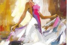 Anatoly Metlan / Ukrainian artist Anatoly Metlan captures the intensity and emotion of a dancer through his colorful paintings of women.  https://www.parkwestgallery.com/artist/anatoly-metlan