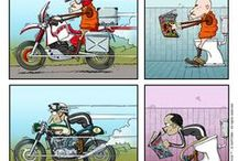 ga-ga-garage! / pic from ga ga garage, an italian comic on a motorcycle