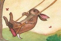 cartoline conigli,BUNNI,Rabbit, Lapin, Kaninchen, кролик / postcard vintage