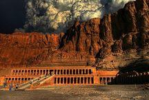 arch: Temple of Queen Hatshepsut / ||Świątynia Hatszepsut w Tebach, Deir-el-Bahari, Egipt, Afryka, sztuka Starożytnego Egiptu