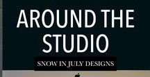 Around the Studio / Around Snow in July's Design Studio. We specialize in branding for small business & custom event stationery.