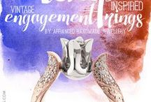 Tulip Engagement Rings / Handcrafted gold Engagement Rings decorated with handmade engraving and brilliants.