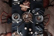 The table is set / Tableware and table setting ideas and products. Dark, light and naturals. Simple and minimalistic mixed with delicate and tender patterns and textures.