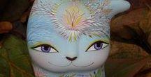 Cat mystic... / Ceramic Ocarina. Animal sculpture. Pictures & illustration. Cat art #ceramic #art #handmade #ocarina #Animal #sculpture #jivizvuk #figurine #music #gifts #toy #Cat #mystic