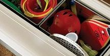 Sports Equipment & Home Storage Ideas / Creative solutions for all those loose balls and bats. It's tie to organize your garage, closet and car.