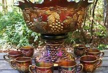 Carnival Glass is over / What a wonderful range of colours this lovely glassware was made in, and intricate patterns.