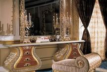 Trappings of Beauty / Vanity tables and stools to hold all a lady needed to become beautiful, to go out or lounge at home.
