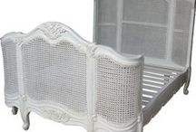 French Style Beds by Lock Stock & Barrel Furniture / Gorgeous shabby chic French Beds handcrafted from solid mahogany and available in a variety of finishes including antique white, waxed mahogany and silver or gold leaf.