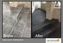 Floors & Showers Restorations (Natural stones) / Floors & Showers  If your marble, limestone, travertine, granite, or slate floor is tired of daily wear and tear, dirt, and foot traffic, we can take care of it. Resealing stone floors is highly recommended at least once per year. Stone floor restoration is inevitable after years of use.