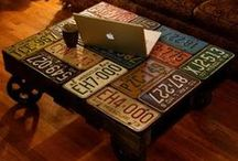 Licensed Art? / Using license plates for art gives a room a well traveled appeal...