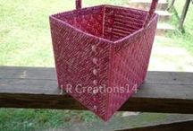 Baskets / Made using plastic canvas and yarn and sometimes beads as accents. Found in etsy shop at www.jrcreations14.etsy.com / by Rhonda Carter