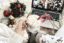 C H R I S T M A S / ~ pine trees ~ fairy lights ~snowmen ~ gingerbread ~ glühwein ~ candy canes ~ presents ~ hot chocolate ~ snow ~ baubles ~