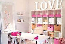 Office/Craft Room / Inspiration for converting our formal dining room into an office and crafting space.