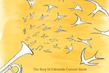 Posters / Posters feature illustration and photography. I do a lot of work for the Bury St Edmunds Concert Band which makes up the bulk of this board. Find out more at nickburman.uk