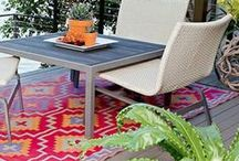 Outdoor Rugs / A stunning collection of outdoor rugs by Dash & Albert and Fab Hab for creating a beautifully styled garden or patio.  Made following the fair trade principles, Fab Hab rugs and pouffes are woven in India from recycled plastic. UV stabilized to prevent fading and deterioration, the range is mildew resistant, easy to clean and lightweight.  Moroccan garden | Country garden | Bohemian garden | Tropical garden | Arabian garden | Contemporary garden | Tibetan Garden