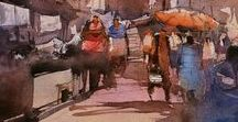Original Watercolor Art Varanasi Ghat Paintings / Being an indian watercolor artist, varanasi ghat has influence my watercolor art significantly, i have been making lot of watercolor paintings of this divine place which gives me eminence pleasure and divine joy. I tried to express my impression about this spiritual town through watercolor artwork , please visit my online art gallery to experience water painting original art for sale.