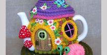 Tea cosy / Tea pot cozy, cup and coffee mug cozy, knitted, quilted, cute!! For tea lovers!!