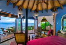 Kerala / Images inspired by the colours of Kerala Master Suite at Baraka Point Villa in the BVIs.  Deep Blues & Reds.