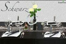 """Tischdeko - Paket Schwarz / Was auf die Teller kommt ist Ihre Sache, um das Drumherum kümmern wir uns.  Tischdeko - Paket """"Schwarz"""". Edle Deko für Ihren festlichen Tisch. Wir liefern Ihnen gut verpackt Ihre Deko bequem nach Hause. Mit unserer Deko - Anleitung verwandeln Sie im Handumdrehen Ihren Tisch in eine festliche Tafel."""