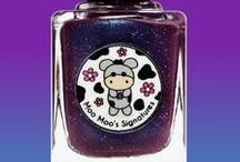 Moo Spell / A plum polish with chameleon shimmer which flashes blue/green/purple, red and violet holo glitter as well as gold holo dust. Inspired by the giant flower from Moo Moo's Story Part I.