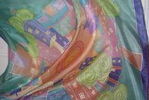 silk  scarfs , scarves... / šály a šátky z bavlny a hlavně z ručně malovaného hedvábí