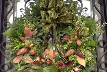 Wreaths porch accents / Decorative wreaths for indoors and outdoor displays.  / by Diana Blair