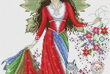 Сказочные феи крестиком