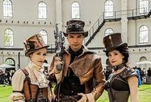 Hats for Steampunk / Victorian Era Science Fiction Style with stunning top hats and bowlers adorned with gears, chains, watches and whimsy!