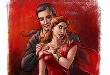 """La Septième Prophétie - l'Egale / inspirations d'images et de costumes qui m'évoquent le personnage de l'Egale, une des héroïnes de ma série de romans """"la septième prophétie"""" -  Ses couleurs principales sont le rouge et le noir."""