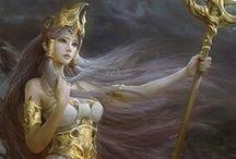 La Septième Prophétie - Flame / Dessins et tenues pour l'inspiration pour un des personnages de la Septième Prophétie, Flame, la Grande Prêtresse de la Déesse Lune - Sa couleur de prédilection est le blanc, qu'elle rehausse d'argent, la couleur de la lune.