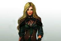 La Septième Prophétie - Orlanne / Inspirations de dessins et de costumes pour Orlanne, personnage de la Septième Prophétie - ses tenues sont à dominante verte.
