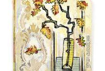 Paintings and Drawings Justien van der Winkel / Paintings, collage, old book pages...