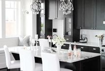 Black & White - let's keep it simple / Black & White always a handy one to fall back on if you're not sure what colour to use or can't agree on a colour scheme. Adding pops of gold or silver really make the room come alive and shine (literally). Here is what you've been looking for.