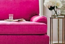 Pink - to make anyone wink!! / Hot pink - well you can't miss it. You have to be bold to use it in your home, it's not just for girly girls and it can work with so many colour schemes. There are so many cool ways to incorporate it into your home. Go all out and pain the whole room pink or just add pops of it for a burst. Here are my ideas for your interiors.