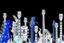 guitar art / metal artwork for wall art - guitars as the main subject - great for unique spaces and avid musicians (and obviously guitar lovers!)