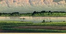 (Jp-MTS)  川瀬巴水 (1) Hasui KAWASE・landscape/woodcut-print / 川瀬 巴水(1883年/明治16年 - 1957年/昭和32年)は、日本の大正・昭和期の浮世絵師、版画家。 衰退した日本の浮世絵版画を復興すべく吉田博らとともに新しい浮世絵版画である新版画を確立した人物として知られる。近代風景版画の第一人者であり、日本各地を旅行し旅先で写生した絵を原画とした版画作品を数多く発表、日本的な美しい風景を叙情豊かに表現し「旅情詩人」「旅の版画家」「昭和の広重」などと呼ばれる。landscape/woodcut-print