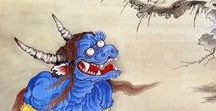 ('j')002-2//江戸1603-明治ころ(妖怪 beasts獣・goblin・風俗・習慣 /おもちゃ絵 [昔-今(' / [Japan]Edo/Meiji/   ghost幽霊  monster 怪物   goblin鬼   (人物person)(風俗genre,行事 event,オモチャ絵)    temporary (^_^;)