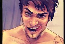"OC Ash / Flavio ""Ash"" Leviora ~ Hufflepuff, FIRE, a lil dark, bisex"