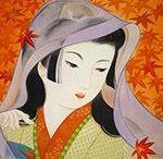 (Jp-*SH) 佃 喜翔 Kisyou Tukuda 美人画-現代 / 1955年に熊本県に生まれました。日本画の技法のひとつである絹本着色(けんぽんちゃくしょく)に出会い、高畠華宵や竹久夢二などの影響を受けた大正ロマン風の作品や、日本のお姫様、昔の日本の子供たちなどを題材にして作品を発表し続けています。
