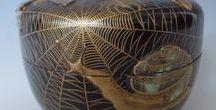 ('j')08[職人技] 蒔絵・漆器・螺鈿・棗/ 木彫[Japan] Urushi / [Nippon]伝統工芸品//漆器・木工・螺鈿細工(mother-of-pearl work) 木彫、香盒(合)