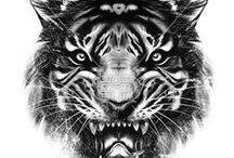 TIGER | PRINTS / Tiger print, graphic & design inspiration for printed T-Shirts & Products. #downloadt-shirtdesigns