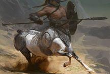 Centauro / Ser con cuerpo de caballo y el torso, brazos y cabeza de hombre. Seres de gran fuerza, sobretodo por su parte animal.