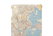 Kartta / Karttapyyhe, karttatapetti, karttasuojakotelo, karttakassi... Uskallan luvata, että melkein mikä vaan onnistuu. Ota rohkeasti yhteyttä: suvi@raisudesign.com