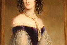 1840s ball gowns / Pre-hoop skirt period, romantic fashion