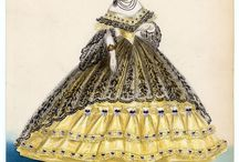 1860s ball gowns / Grand hoop skirt (from round to ellipse), waist moving upwards