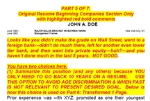 How to Transform a Resume - Part 5 / Original resume Beginning Companies section only, with comments.