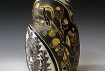 """Australian Inspired Ceramic Vases- """"Native Porcelain Botanicals"""" My Work / These porcelain vases were created on the wheel and are inspired by Australian native flora. The designs are hand drawn and then carved into the surface of the clay, then filled with coloured glazes.  http://www.rediscovering.com.au/  Native Porcelain Botanicals by Danica Wichtermann from Rediscover Ceramics.  Instagram: rediscoverceramics"""