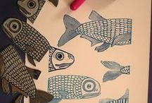 Linopainanta & leimasimet / Linopainantaa, leimasimia, ideoita kankaanpainantaan ja paperitöihin.