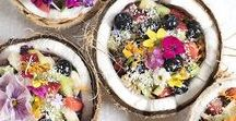 Healthy Food / Yummy healthy food with fruits, seeds, chia seeds, muesli, granola, smoothies...